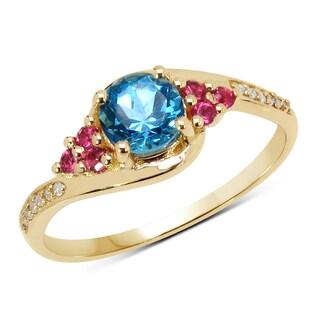 Malaika 14k Yellow Gold 0.76 Carat Genuine Swiss Blue Topaz, Pink Tourmaline and White Diamond Ring