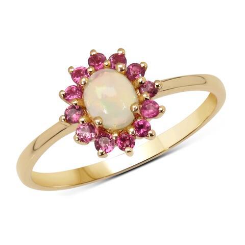 Malaika 14k Yellow Gold 0.46ct Genuine Ethiopian Opal and Pink Tourmaline Ring