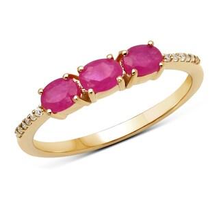 Malaika 14k Yellow Gold 0.70-carat Genuine Ruby and White Diamond Ring