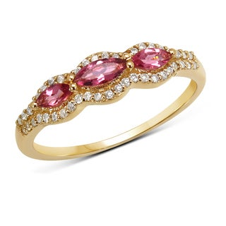 Malaika 14k Yellow Gold 0.47 Carat Genuine Pink Tourmaline and White Diamond Ring
