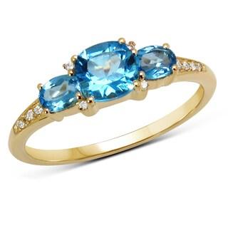 Malaika 14k Yellow Gold 1.16-carat Genuine Swiss Blue Topaz and White Diamond Ring