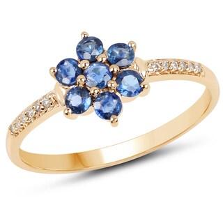 Malaika 14k Yellow Gold 0.60-carat Blue Sapphire and White Diamond Ring