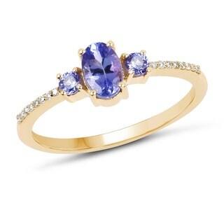 Malaika 14k Yellow Gold 0.63 Carat Genuine Tanzanite and White Diamond Ring