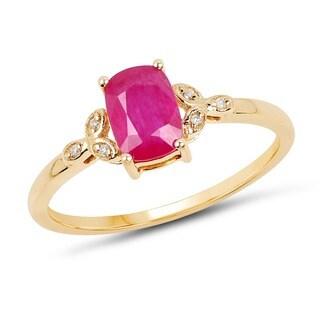 Malaika 14k Yellow Gold 1.02-carat Genuine Pink Ruby and White Diamond Ring
