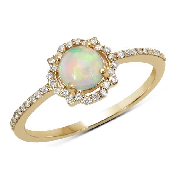 Malaika 0.42 Carat Genuine Ethiopian Opal & White Diamond 14K Yellow Gold Ring