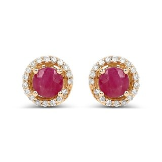 Malaika 14-karat Yellow Gold 0.71-carat Genuine Ruby and White Diamond Earrings