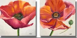 P. Pinto 'Poppy Flower I & II' Canvas 2-piece Set