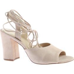 Women's Nine West Bellermo Heeled Sandal Light Natural Suede
