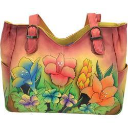 Women's ANNA by Anuschka Hand Painted Medium Shoulder Bag 8065 Mediterranean Garden