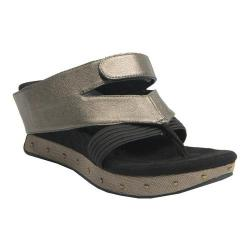 Women's MODZORI Ella Wedge Thong Sandal Black/Pewter