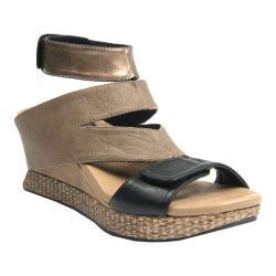 Women's MODZORI Olivia Wedge T-Strap Sandal Metallic/Taupe/Black