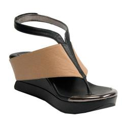 Women's MODZORI Bojana Wedge Thong Sandal Beige/Black/Black/Pewter