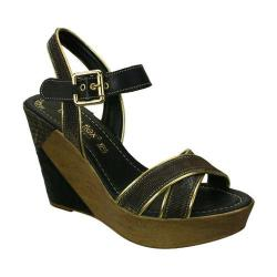 Women's Napa Flex Cocktail Wedge Sandal Black/Gold Calfskin