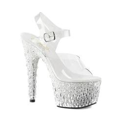 Women's Pleaser Adore 708MR-5 Ankle Strap Sandal Clear PVC/White Silver