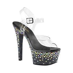 Women's Pleaser Aspire 608STPL Ankle-Strap Sandal Clear PVC/Black/Silver Hologram Stars