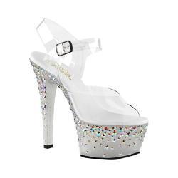 Women's Pleaser Aspire 608STPL Ankle-Strap Sandal Clear PVC/Frost/Silver Hologram Stars