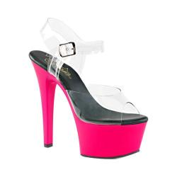 Women's Pleaser Aspire 608UV Ankle-Strap Sandal Clear PVC/Neon Pink