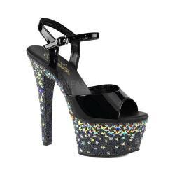 Women's Pleaser Aspire 609STPL Ankle-Strap Sandal Black Patent/Black/Silver Hologram Stars