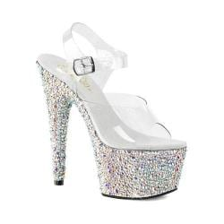 Women's Pleaser Bejeweled 708MS Ankle Strap Sandal Clear PVC/Silver Multi Rhinestone