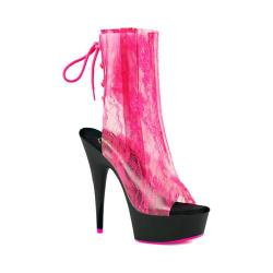 Women's Pleaser Delight 1018LA Open-Toe Ankle Boot Neon Hot Pink TPU/Black Matte