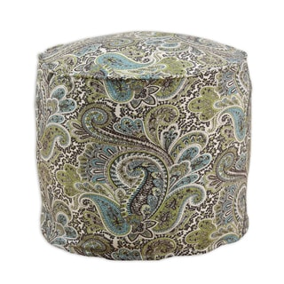 Paisley Chocolate 20-inch x 17-inch Corded Hassock