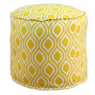 Nichole Corn Yellow Cotton 20-inch Round x 17-inch High Corded Beads Hassock