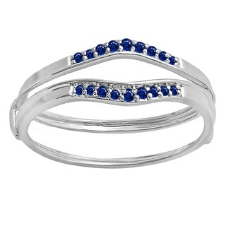 10k White/Yellow Gold 1/8-carat Round Blue I1-I2 Sapphire Women's Anniversary Enhancer/Guard Wedding Band