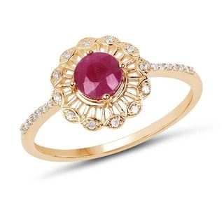 Malaika 14k Yellow Gold 0.63-carat Genuine Ruby and White Diamond Ring