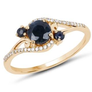 Malaika 14k Yellow Gold 0.74-carat Genuine Blue Sapphire and White Diamond Ring