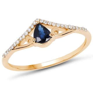 Malaika 14k Yellow Gold 0.40 Carat Genuine Blue Sapphire and White Diamond Ring