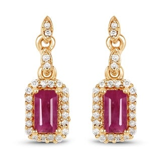 Malaika 14k Yellow Gold 0.78-carat Genuine Ruby and White Diamond Earrings