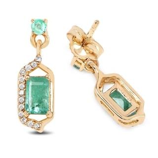 Malaika 14k Yellow Gold 0.70-carat Genuine Zambian Emerald/White Diamond Earrings