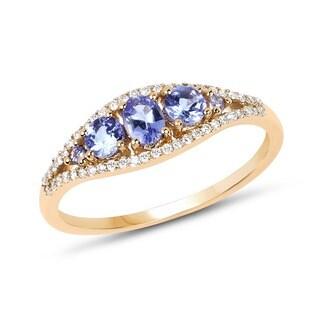 Malaika 14-karat Yellow Gold 0.56-carat Genuine Tanzanite and White Diamond Ring