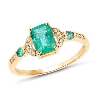Malaika 14k Yellow Gold 1.08-carat Genuine Zambian Emerald and White Diamond Ring