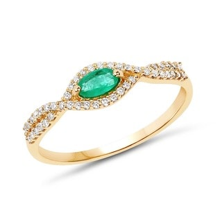 Malaika 14k Yellow Gold 0.33-carat Genuine Zambian Emerald and White Diamond Ring