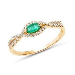 Malaika 14k Yellow Gold 0.33-carat Genuine Zambian Emerald and White Diamond Ring