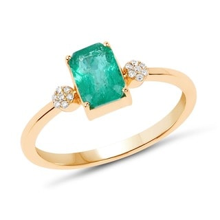 Malaika 14k Yellow Gold 0.97k Genuine Green Zambian Emerald and White Diamond Ring