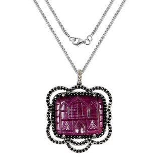 One-of-a-kind Orchid Jewelry Sterling Silver 25.10ct Ruby/ Sapphire/ Diamond Pendant