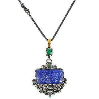 One-of-a-kind Orchid Jewelry 53.60ct Tanzanite,Emerald and Diamond Pendant