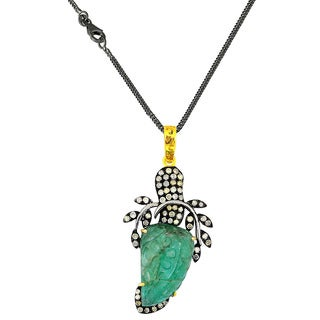 One-of-a-kind Orchid Jewelry 19.55ct Emerald and Diamond Pendant