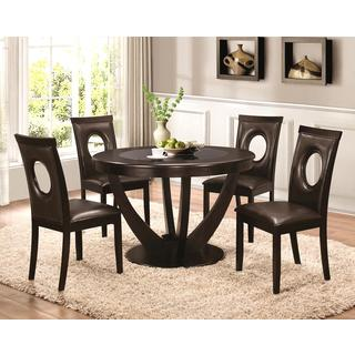 Valencia Casual 5-piece Round Dininig Set with Black Tempered Glass