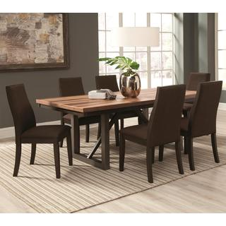 Reclaimed Wooden Block Design Table with Industrial Style Base and Ergonomic Chairs Dining Set