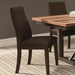 Ergonomic Designed Wood Frame Brown Upholstered Dining Chairs (Set of 2)