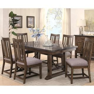 Architectural Industrial Rustic Design Dining Set with Laminated Natural Bluestone Top
