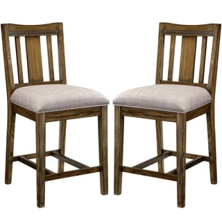 Architectural Industrial Rustic Design Counter Height Dining Stools (Set of 2)