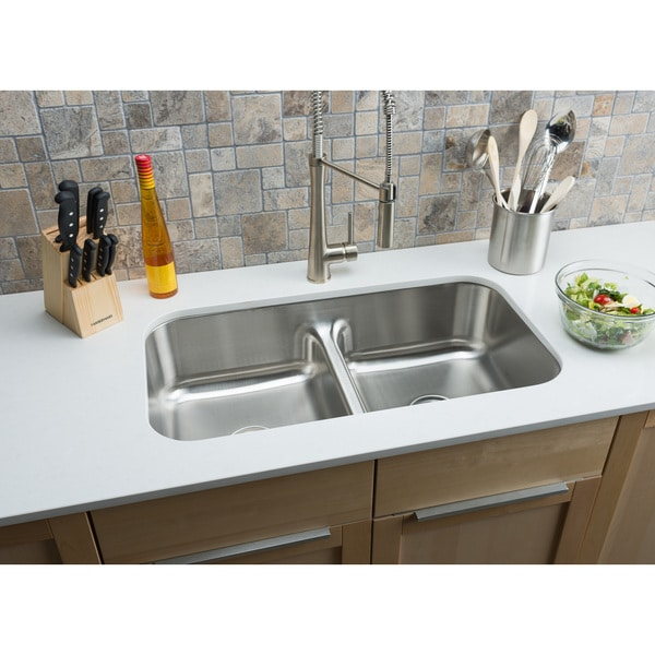 hahn chef series extra-large double-bowl low-divide sink - free
