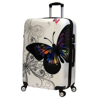 World Traveler Butterfly Hardside White Polycarbonate 29-inch Expandable Spinner Upright Suitcase