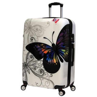 World Traveler Butterfly 29-inch Expandable Hardside Fashion Upright Spinner Suitcase