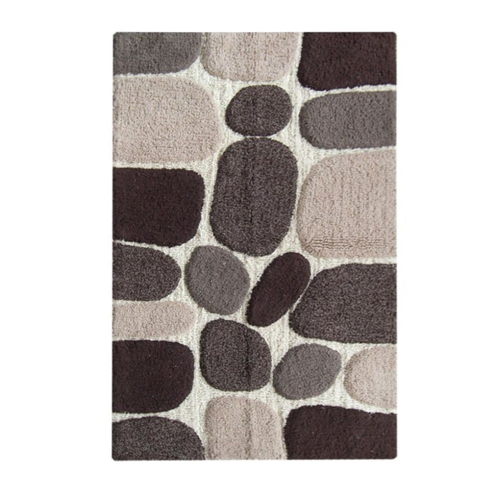 Benzara Black/Grey Pebbles Handwoven Cotton Bath Mat (27-...