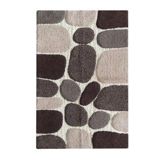 Black/Grey Pebbles Handwoven Cotton Bath Mat (27-inch x 45-inch)